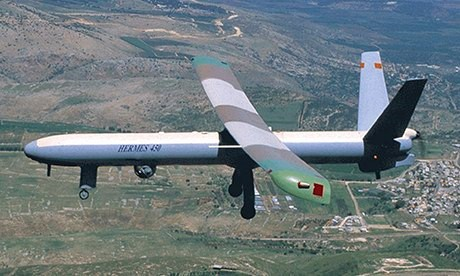 Um drone Elbit Systems Hermes 450.