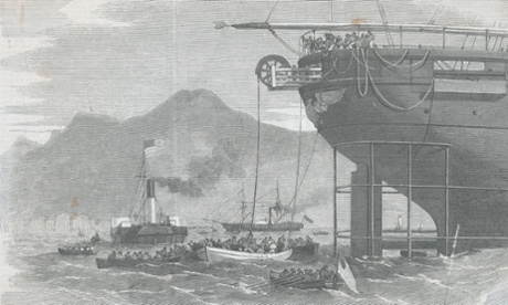 Men Extending Cable Line from Ship