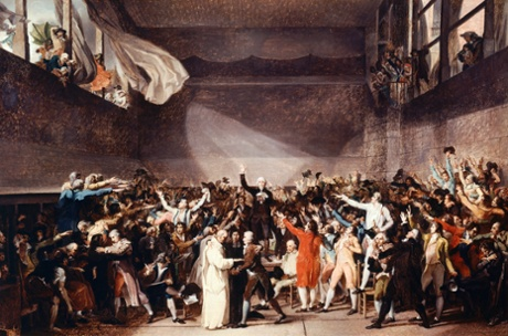 Tennis Court Oath in Versailles on June 20, 1789, 1784-1794, by Jacques-Louis David (1748-1825), oil on canvas, 65x88.70 cm. (Photo by DeAgostini/Getty Images)