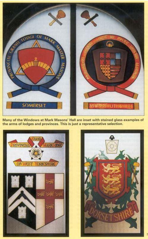 Muitas das janelas no Mark Masons'Hall são adornadas com exemplos de vitrais de escudos de lojas e provincias. Esta é uma seleção representativa.