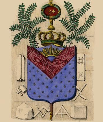 """Brasão do grau de """"Príncipe do Tabernáculo,"""" grau 24 do REAA, por Jean-Nicolas Bouilly, 1837 al. SC-GCREAA-GODF PM Foto P.M."""